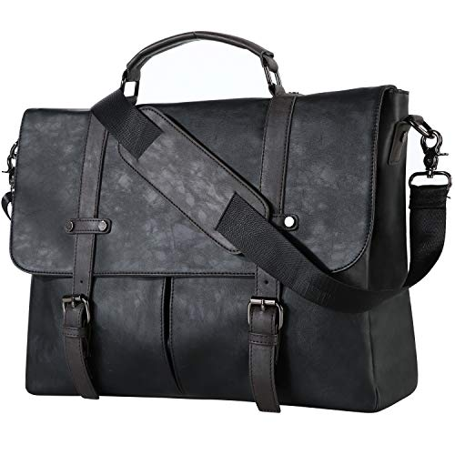 Leather Messenger Bag,15.6 Inch Vintage Laptop Bag Briefcase Satchel for Men