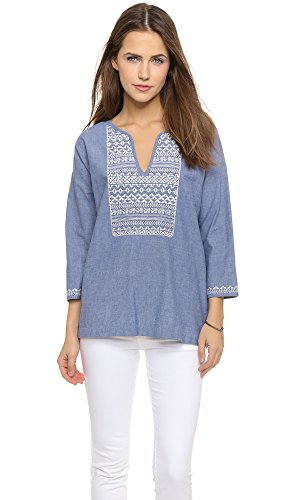 Joie Women's Neri Embroidered Top, Chambray, Small