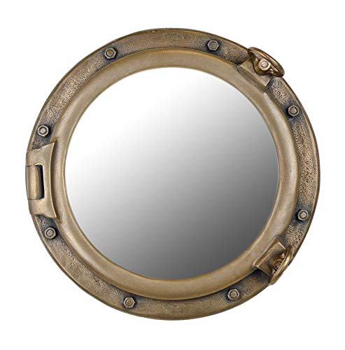 Nautical Tropical Imports Porthole Mirror Wall Mount Antique Brass 20 Inch - Bathroom Mirrors Hull