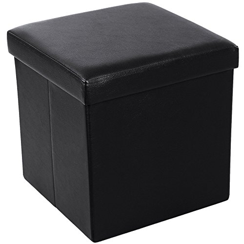 Lovinland 15 Storage Ottoman Bench Folding Foot Rest Stools Padded Seat Storage Chest with Faux Leather