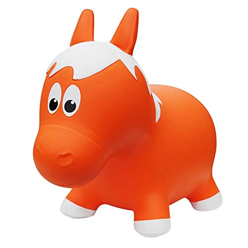 Farm Hoppers Award Winning Inflatable Bouncing Orange Horse Plus Pump
