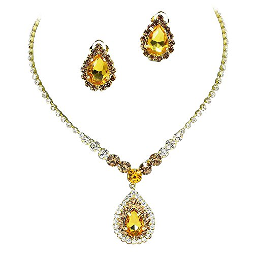 0fee4a908ee5b8 Stunning Y Drop ClipOn Earrings Golden Topaz Crystal Bridal Necklace  Bridesmaids E7