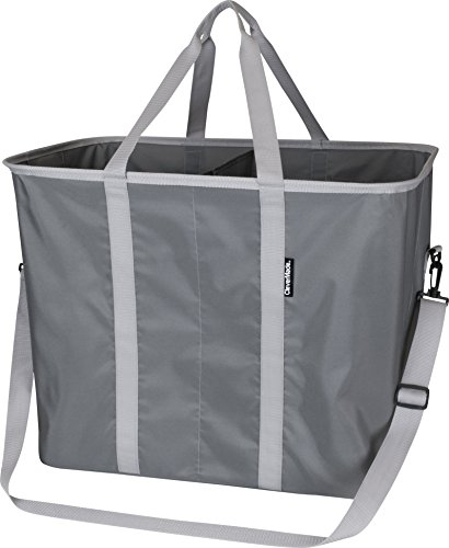 CleverMade SnapBasket Hamper - X-Large Collapsible Pop-Up Laundry Tote with Middle Divider & Adjustable Shoulder Strap, Charcoal/Grey
