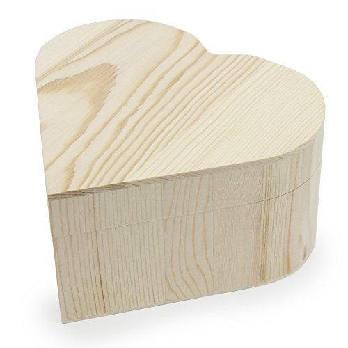 AVESON Plain Unfinished Box, Heart Shape Unpainted Wooden Jewelry Box DIY Storage Chest Treasure Toy Case 13x 12x ()