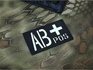 GLOW Reflect IR Military Blood Type AB+ Positive Tactical AIRSOFT Velcro Patch