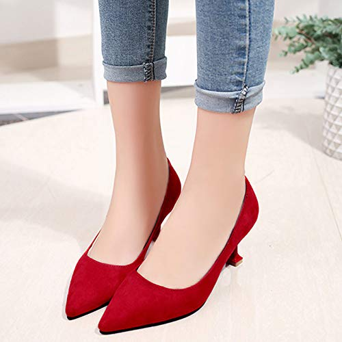 Heel Polyurethane Pump Women's ZHZNVX Red PU Shoes Toe Black Heels Kitten Pointed Fall Basic Red awHtqzHS