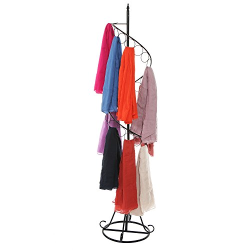 MyGift Freestanding Black Metal Spiral Design 25 Ring Scarf Hanger Organizer Retail Store Display Stand Rack