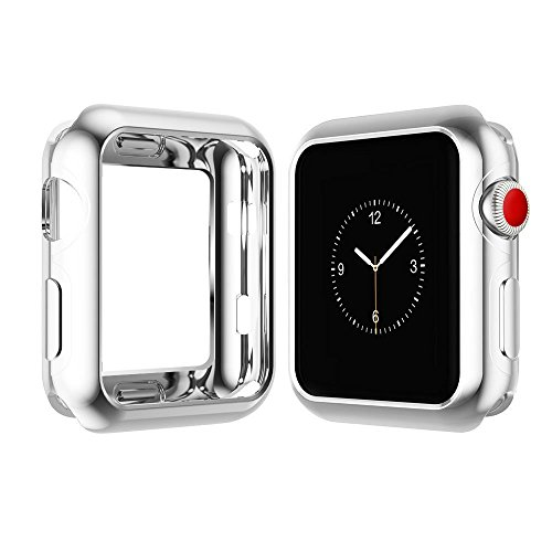 Chrome TPU Case W/Corner & Edge Protection by Tech Express for Apple Watch Series 1, 2 & 3 Cellular LTE/GPS [iWatch Cover] Bumper Smooth Gel Skin Protective Shockproof Protection (42mm, Silver)