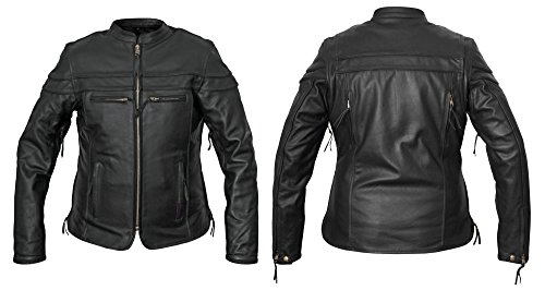 Interstate Jacket Leather Black - Interstate Leather Women's Moxie Scooter Jacket Black Small