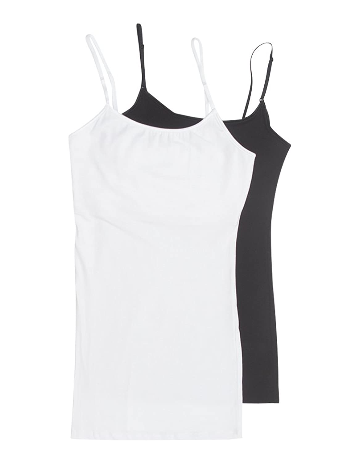 Active USA Basic Women's Long Cami Set With Built In Bra (2 Pack) - Junior Sizes