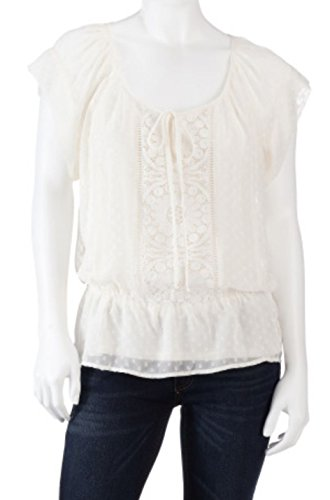 Black Rainn Signature Studios Womens Swiss Dot Peasant Top, Antique Ivory (Petite Large)