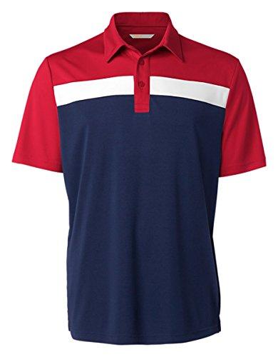 Cutter & Buck Men's Self Fabric Collar Polo Shirt, Red/Navy, XXXL