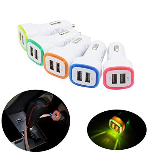 MChoice LED Dual USB Car Charger 2 Port Adapter Cigarette Socket Lighter For Phone