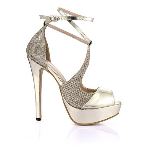 Dolphin Women's Gold Open Toe 14CM High Heel Sandals with Ankle Strap Wedding Dress Peep Toe Pumps SM00008 golden 5HSQUXiP