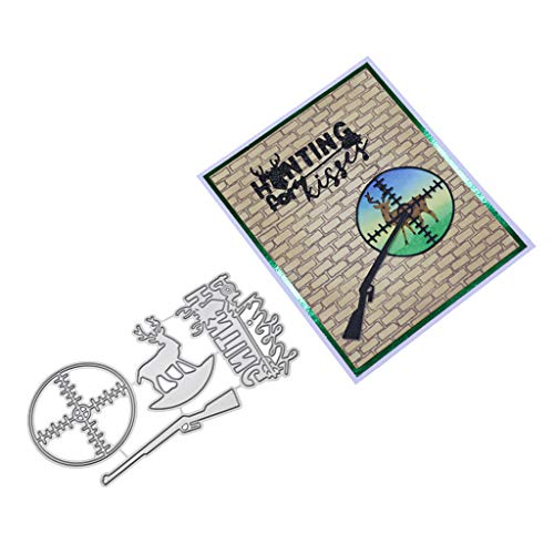Cugap Refusing Hunting Metal Cutting Dies Stencil DIY Scrapbooking Album Stamp Paper Card Embossing Crafts Decor for DIY Scrapbooking Paper Card Craft Cutting Dies for Card Making