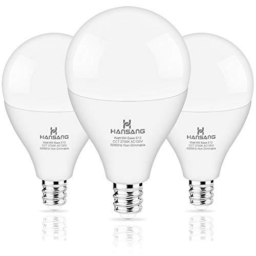 Hansang LED Ceiling Fan Light Bulbs, E12 Base 2700K Soft Warm White Candelabra led Bulbs, G14 LED Bulb 6Watt (60-Watt Replacement), 600LM, CRI > 85, Non-dimmable (3 Pack)