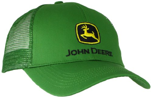 John Deere Embroidered Logo Mesh Back Baseball Hat - One-Size - Men's - JD Green