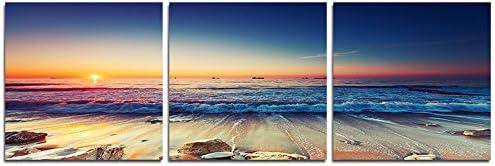 Lift Gather- アートパネル 「サンセットビーチオーシャン自然」 壁掛け 風景写真の壁の写真を絵画 ポスター キャンバス絵画 3パネルセット 木枠付きの完成品 (40cmx40cmx3枚)