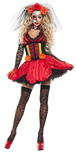 [Starline Women's Cinched Day Of The Dead 3 Piece Costume Dress Set, Red/Black, Small] (Womens Day Of The Dead Costume)
