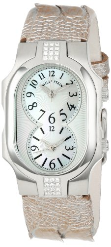 (Philip Stein Women's 1SD-NFMOP-OCHP Stainless Steel Diamond-Accented Watch with Champagne Leather)