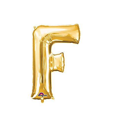 Regina 106474.6, Balão Metalizado Super Shape Letra F Pack, Dourado