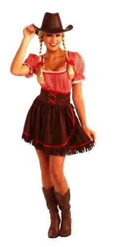 [Forum Novelties Women's Cowpoke Cutie Costume, Red/Brown, One Size] (Women Cow Costumes)