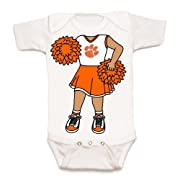 Future Tailgater Clemson Tigers Heads Up! Cheerleader Baby Onesie (Newborn)