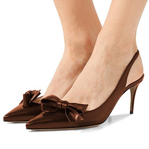 Pointed Heel Fashion Women Dress Slingback Pumps with Toe XYD Shoes Bows Sienna High Slip On fw0xqx
