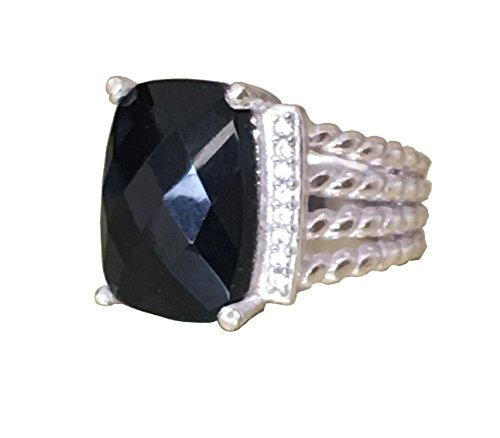 (Gempara Designer Inspired Twisted Cable 16x12mm Black Onyx Checkerboard Cushion Ring Size 7, 9 (7))