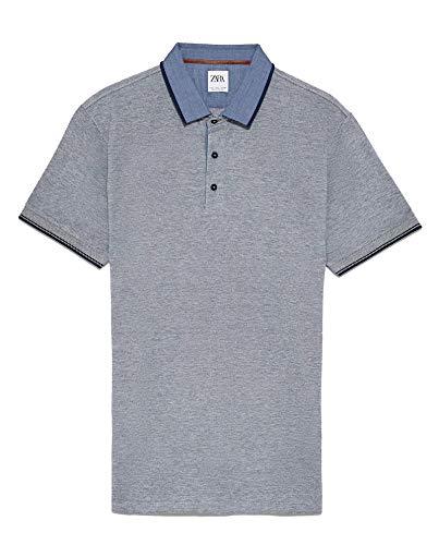 Zara piqué de Contraste para Hombre Polo 8373/300 Azul Azul Large ...