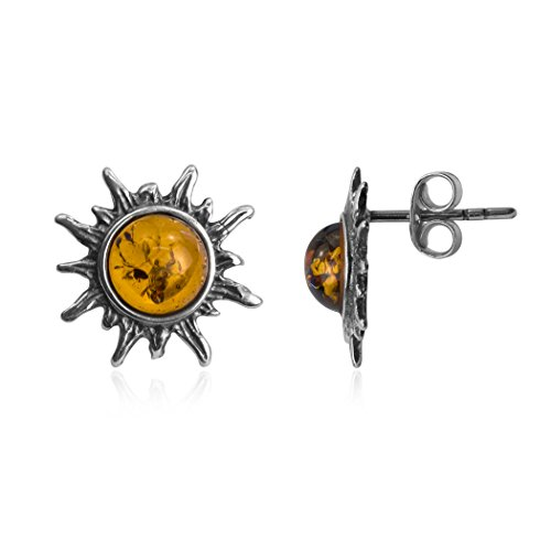 Amber Sterling Silver Sun Stud Tiny Small Earrings