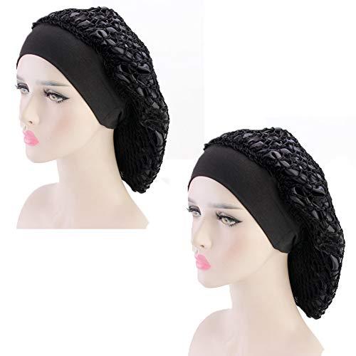 Crochet Hats Hat Snood - 2Pack Snood Hair Net Crochet Cap Elastic Wide Band Satin Bonnet Night Sleep Hat Gifts for Frizzy Hair Women