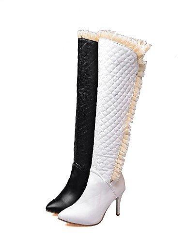 Moda Blanco Stiletto us8 Uk6 Black Eu36 Cn36 Xzz La Negro White A Puntiagudos Zapatos Tacón Casual Mujer Semicuero Botas Uk4 Cn39 De us6 Vestido Eu39 IwzqA6
