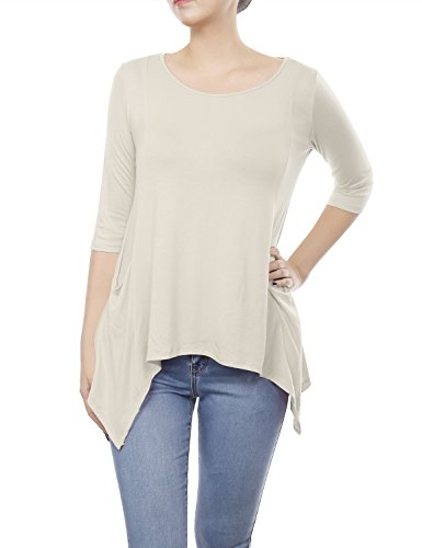 BILY Women's 3/4 Sleeve Front Pockets Round Neck Casual Flowy Top Ivory (Silk Front Pocket Tunic)