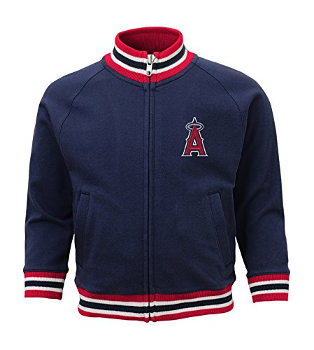 MLB Los Angles Angels Boys 4-7 Baseball Run Track Jacket-L (7), Athletic Navy