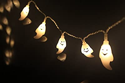 Halloween String Lights, Solar Powered Outdoor Halloween Decorations, 30 LED 8 Modes Ghost Steady / Flickering Lights for Party Patio Decor