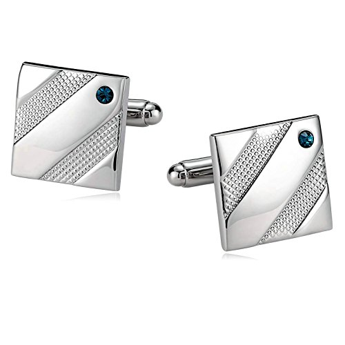 Aooaz Mens Cufflinks Stainless Steel Diagonal Square Silver Blue 1.7X1.7CM Dad Unique Jewelry Box Fancy Elegant