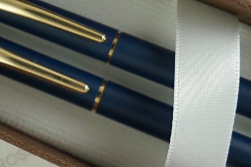 Cross Made in the USA Classic Century Matte Blue and 23KT Gold Appointments BallPoint Pen and 0.5MM Pencil Set . Made in Lincoln RI , USA ()