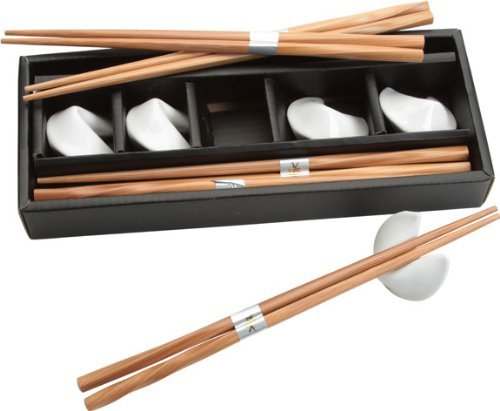 (Twisted Bamboo Chopsticks and White Fortune Cookie Rests; 1 Set for 5 People by EverythingChopsticks)