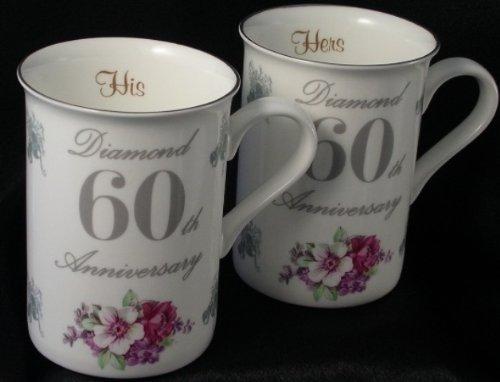 Diamond Wedding Gift Ideas: Pair Of 60th (Diamond) Fine Bone China Wedding Anniversary