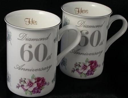 diamond 60th wedding anniversary gift pair of mugs amazon co uk