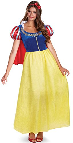Disguise Women's Disney Snow White Deluxe Costume, Yellow/Red/Blue, Large (Snow White Halloween Costume Adults)