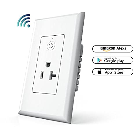 Smart WiFi Plug In-wall, NewRice 20A Wireless Standard Smart Socket Outlet, Remote Control Your Fixtures From Anywhere, Timing Function, Works with Amazon (3 Function Light Switch)