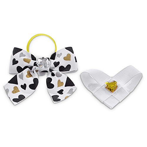 Love my Pup White Valentine's Day Dog Hair Ribbon Set, Standard