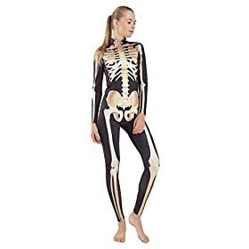 skeleton catsuit - 410YqZccNIL - Quesera Women's Halloween Costume Skeleton Zip Up Skinny Catsuit Stretch Jumpsuit