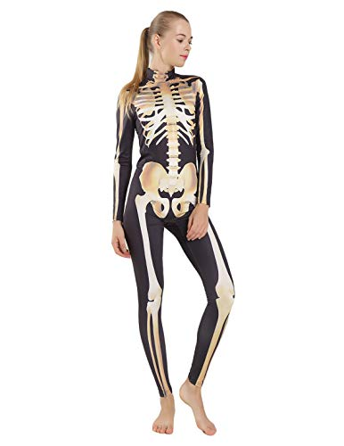 Quesera Women's Halloween Costume Skeleton Zip Up Skinny Catsuit Stretch Jumpsuit, Yellow2, Tag Size XL=US Size L