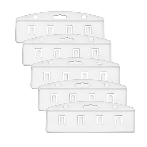 Half Card Holder - Outus Half Card Badge Holder, Horizontal, Frosted Rigid Plastic, 5 Pack
