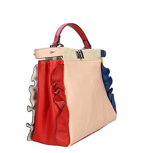 de mujer genuino Cm Made 32x26x12 Bolso Italy in en Rosa Azul Aren cuero Z5qAW