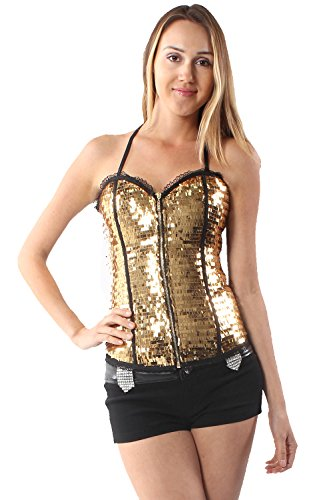 Lydia USA Sexy Squire Sequin Zip Up Bustier Corset With Back Closing Of String Cross (Medium, -