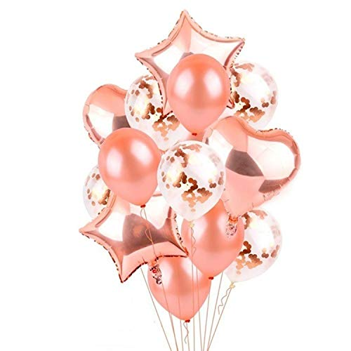 14 Pieces Party Balloons Rose Gold Latex Balloons Confetti Balloons and Star Heart Foil Balloons Birthday Party Decoration Kids Baby Shower Wedding